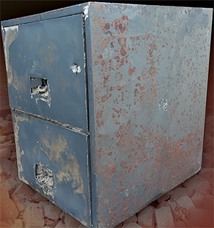 Burned Fireproof File Cabinet