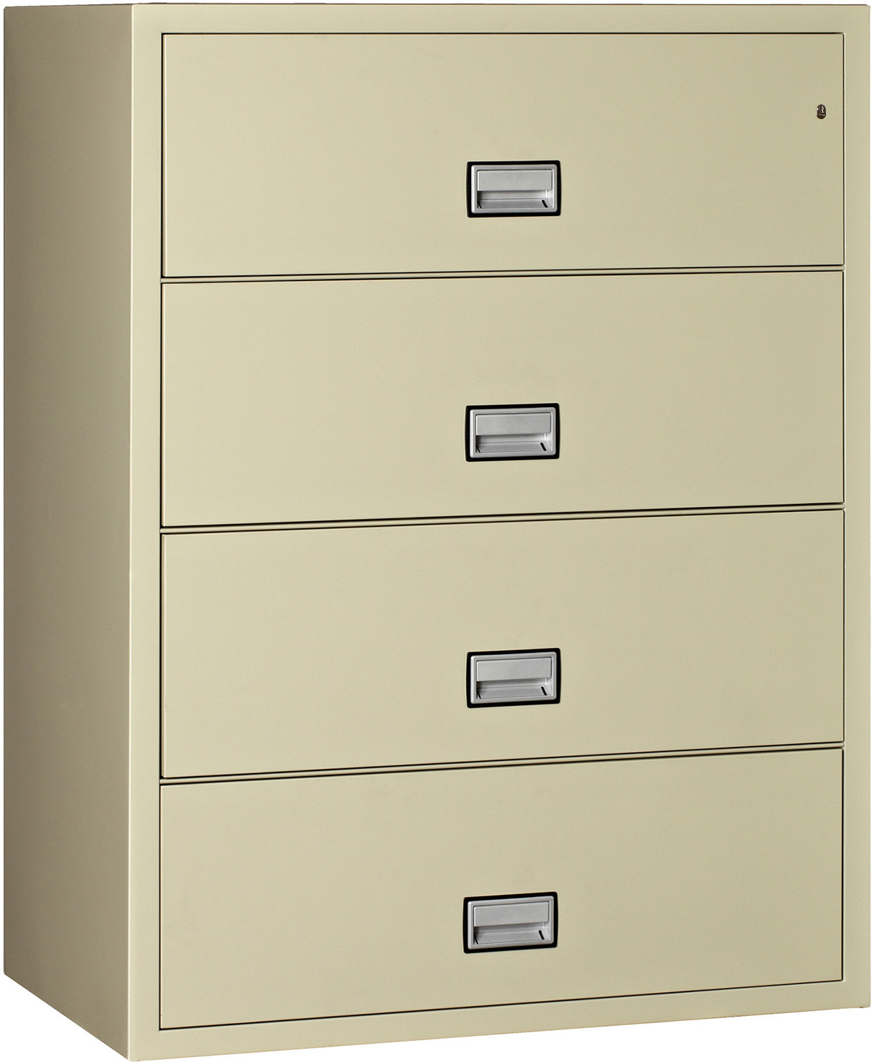 Lateral 44 Inch 4 Drawer Fireproof File Cabinet Putty